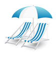 chair and beach umbrella isolated vector image