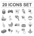 children s toy monochrome icons in set collection vector image