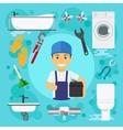 Sanitary engineering Plumber at plumbing work vector image