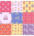 Set of seamless patterns cakes sweets cupcakes vector image