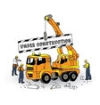 Under construction sign builder and objects on vector image