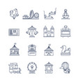 luna park amusement line icons vector image vector image