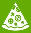 pizza slice icon green vector image