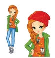 Girl In Green Jacket And Red Hat vector image