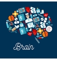 Human brain icon made up of healthcare symbols vector image vector image