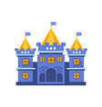 blue fairytale royal castle or palace building vector image