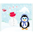 Christmas card with a penguinsanta claus and vector image