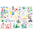 stylized childrens drawings vector image