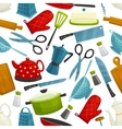 Cooking utensils kitchenware seamless pattern vector image