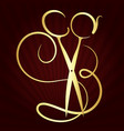 scissors and comb symbol vector image