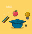 colorful poster of education with graduation cap vector image