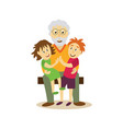 grandfather sits on bench hugging children vector image