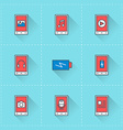 Mobile phone icons icon set in flat design style vector image