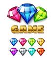 Cartoon Diamond Shaped Gem icons set vector image