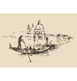 Streets Venice Italy with Gondola Vintage Engraved vector image