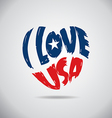 I love USA Heart Logo vector image vector image