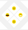 Flat icon face set of cheerful grin displeased vector image
