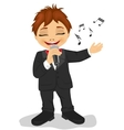 Little boy with microphone sings a song vector image