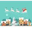 Santa Claus on sleigh Urban winter landscape vector image