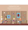 Shop with clothes or store interior clearance sale vector image