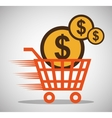 shopping online cart money currency vector image