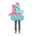 Tsvenye man holding gift boxes vector image