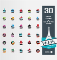 set of 30 Capital citiy siluettes vector image