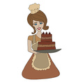 Housewife serving cake with cream vector image vector image