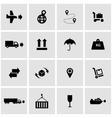 black logistic icon set vector image