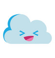 colorful happy natural cloud weather kawaii vector image