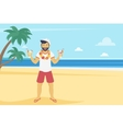 Happy young man enjoy on the beach and drinking vector image
