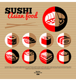 Japan sushi Flat icon set vector image