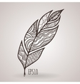ornate intricate feather Doodle Zentangle vector image