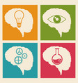set brain idea learn gear vector image