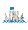 ship with flag paper origami vector image