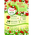 spring holidays flower wreath greeting poster vector image