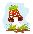 Frog Sitting on a Mushroom Cartoon vector image