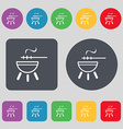 barbecue icon sign A set of 12 colored buttons vector image