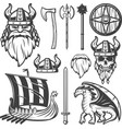 Vintage Viking Icon Set vector image