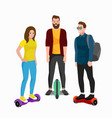 active peoples fun with electric scooter family vector image