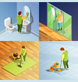 cleaning 2x2 isometric design concept vector image