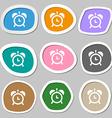 alarm clock symbols Multicolored paper stickers vector image
