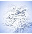 Graphic scuba diver riding the dolphin vector image