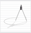 compass tool draw circle on line paper vector image