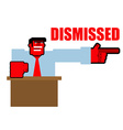 Dismissed Red angry Bos points to door Aggressive vector image