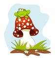Frog Sitting on a Mushroom Cartoon vector image
