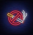 no smoking neon sign bright symbol icon vector image