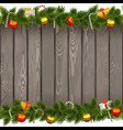 Christmas Border with Lollipop on Old Board vector image