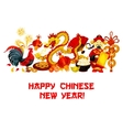Chinese New Year holidays greeting card design vector image vector image