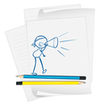 A paper with a sketch of a boy speaking vector image vector image